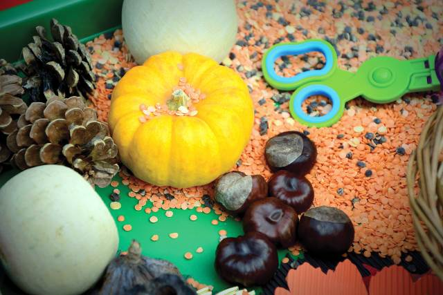 autumn sensory play EYFS