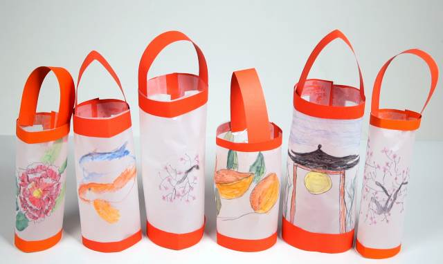row watercolour chinese lanterns