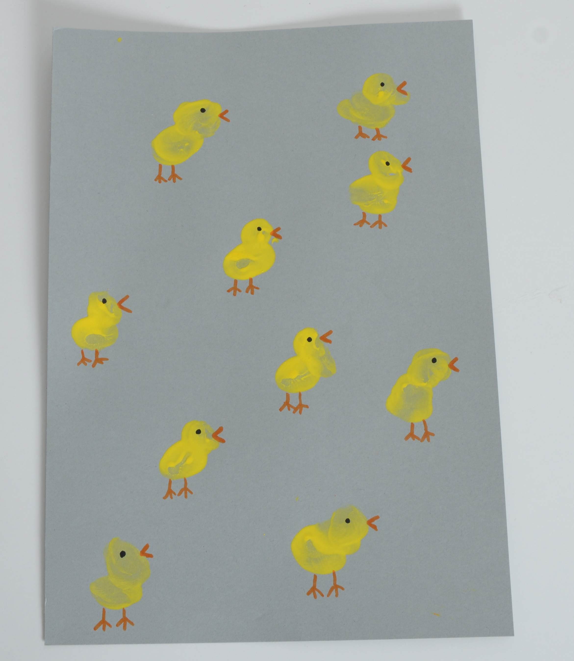 Easter art finger print chicks
