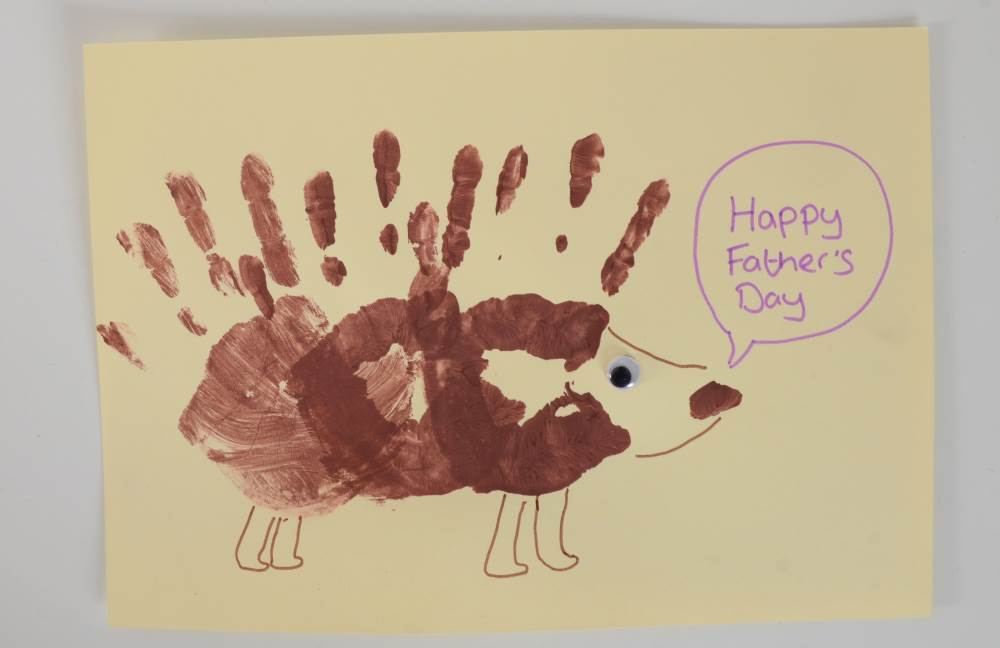 hedgehog handprint fathers day card