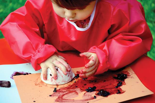 messy play - blackberry paint