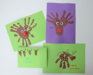 hand and finger print reindeers