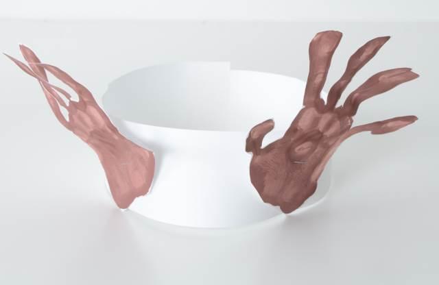 hand print reindeer hat