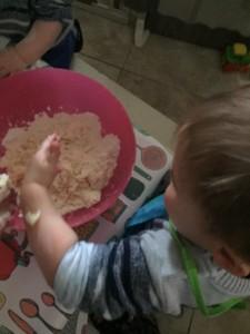 child making shortbread
