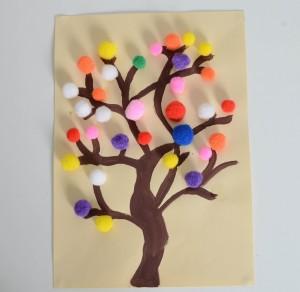 card ideas pom pom tree