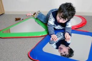 Self care activity mirror play