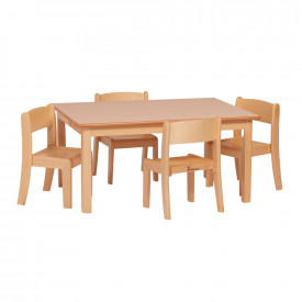 Solid Beech Rectangular Table and 4 Chairs