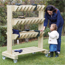 Outdoor Wooden Wellie Storage Trolley