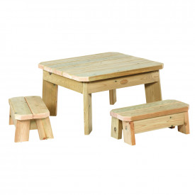Square Table & Bench Set