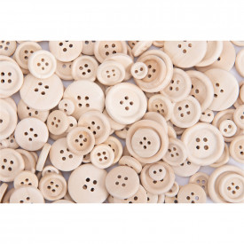 Wooden Craft Buttons Pack