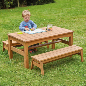 Outdoor Low Table & Benches Set