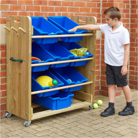 Outdoor Wooden Tilted Tray Storage