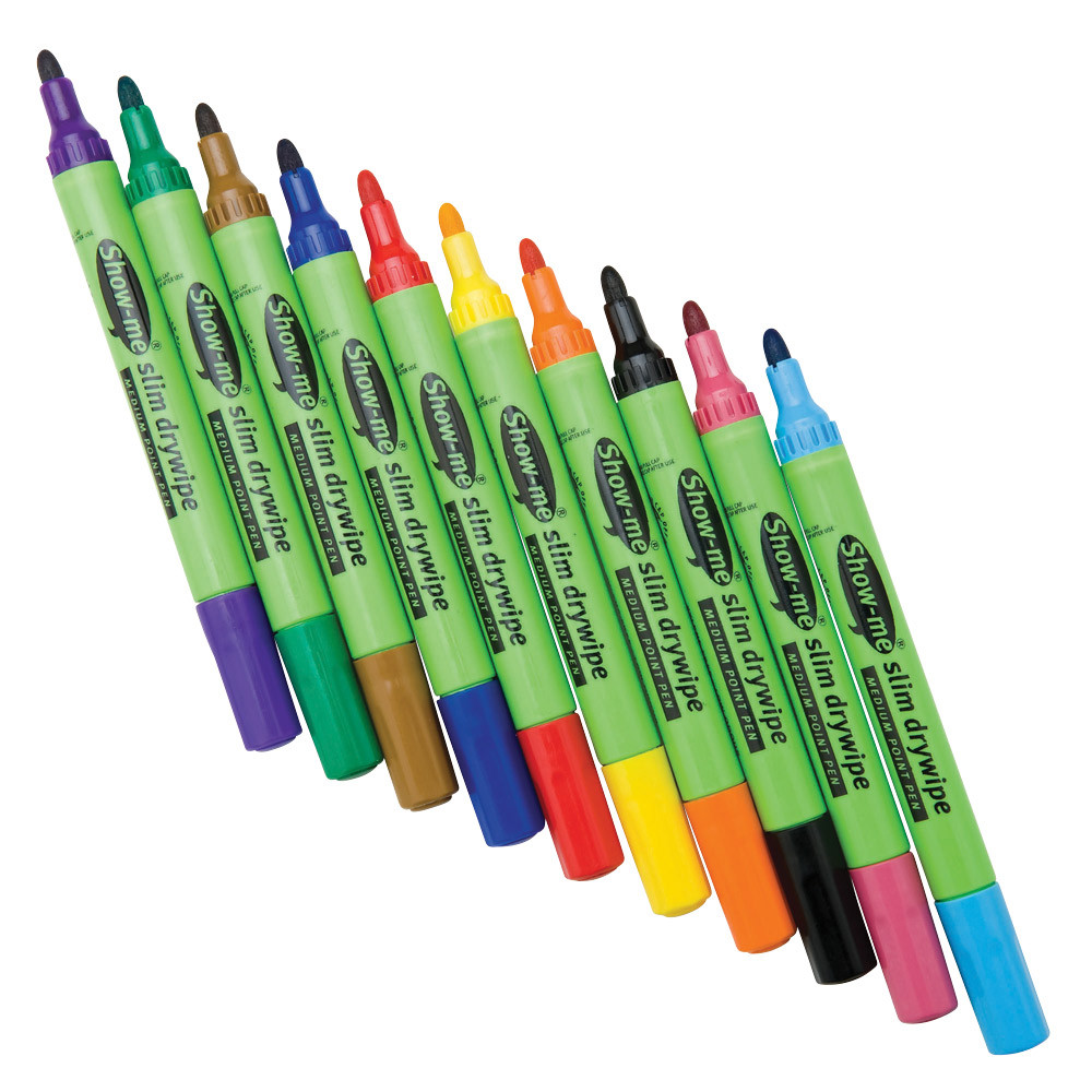Show-me Medium Point Slim Barrel Drywipe Marker Wipeboard Black Pens