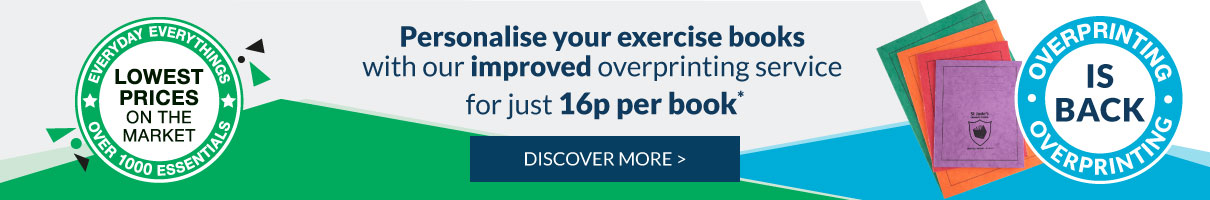 Discover our new and improved Exercise Books Overprinting Service