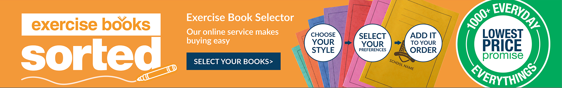 Make buying exercise books easy with our Exercise Book Selector