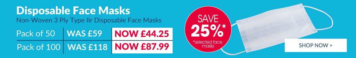 Save 25% on selected Disposable Face Masks!