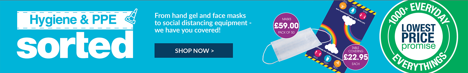 From hand gel and face masks to social distancing equipment - we have you covered to get back to school safely!