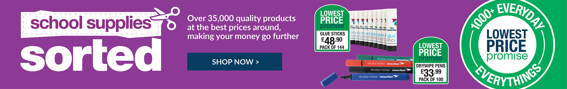 School supplies sorted - quality products at the best prices around!
