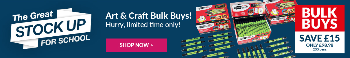 Stock up on our brand new art & craft bulk buys and save money today! Available for a limited time only. Shop Now