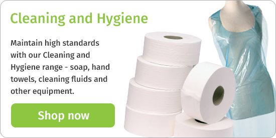 Maintain high standards with our Cleaning and Hygiene range - soap, hand towels, cleaning fluids and other equipment. Shop now
