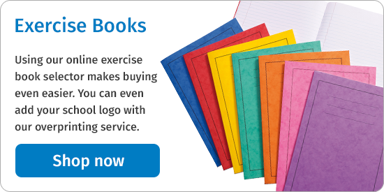 Using our online exercise book selector makes buying even easier. You can even add your school logo with our overprinting service. Shop now